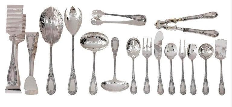 Silver 234-Pieces Cutlery Set 12 Persons Spain Orion Art Nouveau Cabinet ca.1900 For Sale 13