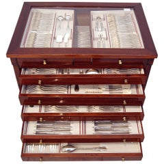 Silver 234-Pieces Cutlery Set 12 Persons Oriol Barcelona Art Nouveau Casket 1900