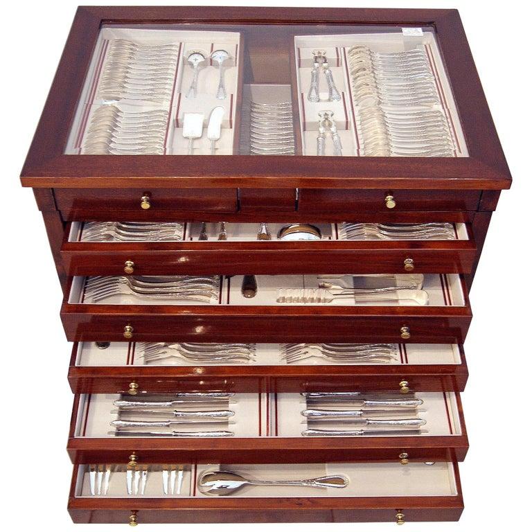 Silver 234-Pieces Cutlery Set 12 Persons Spain Orion Art Nouveau Cabinet ca.1900 For Sale