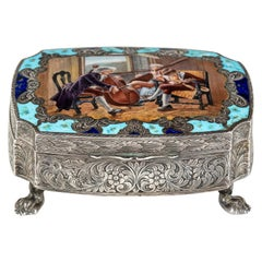 Silver 800 and Enamel Music Box Signed Fallaci Firenze, Italy, circa 1930