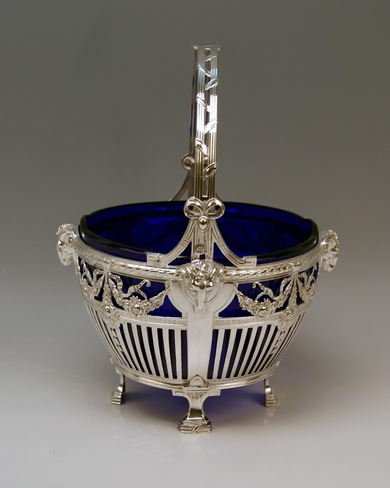 Gorgeous Art Nouveau Silver 800 basket with handle and original cobalt blue glass liner.  Made in Germany/ Bremer Silberwarenfabrik, circa 1905-1910 As from year 1905 Bremer Silberwaren-Fabrik used the figural