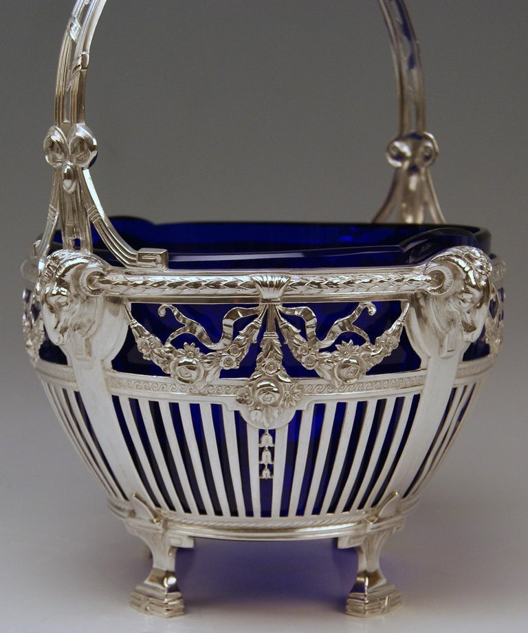 Silver 800 Art Nouveau Basket Original Blue Glass Liner Bremen, Germany In Excellent Condition For Sale In Vienna, AT