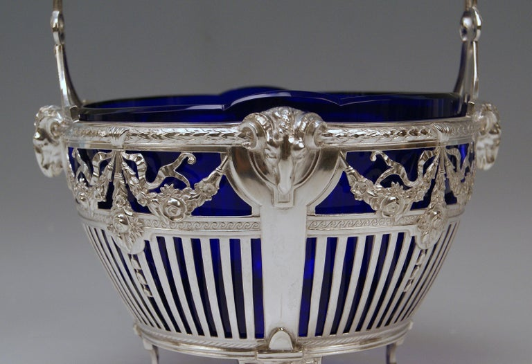Early 20th Century Silver 800 Art Nouveau Basket Original Blue Glass Liner Bremen, Germany For Sale