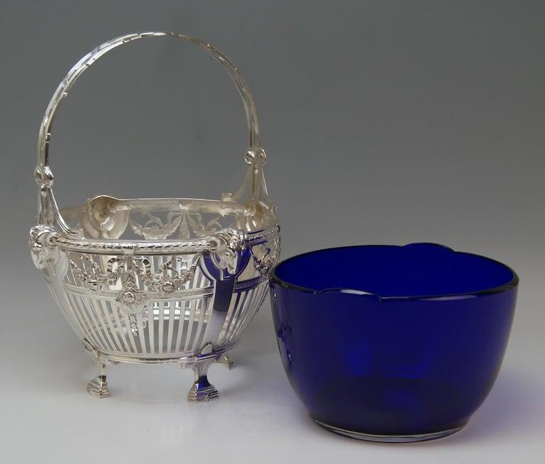 Silver 800 Art Nouveau Basket Original Blue Glass Liner Bremen, Germany For Sale 2
