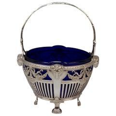 Silver 800 Art Nouveau Basket Original Blue Glass Liner Bremen, Germany