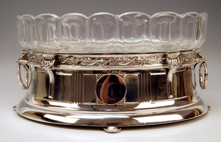 Stunning Art Nouveau Large Silver Flower Bowl / Jardinière With Original Glass Liner Hallmarked (Viennese Silver) Manufactured circa 1900  It is a finest large silver flower bowl (jardinière) with most elegant original glass liner. Referring to