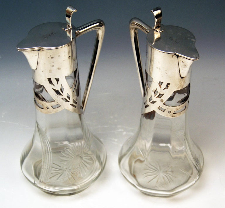 Silver 800 Art Nouveau Pair of Glass Decanters Deyhle Brothers, Germany, 1900 In Good Condition For Sale In Vienna, AT