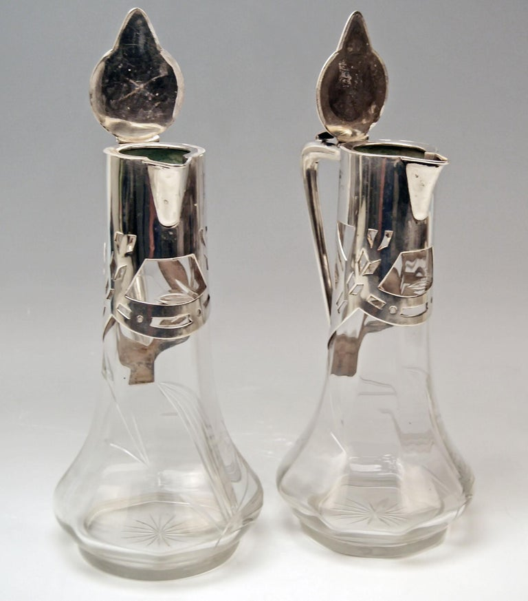Silver 800 Art Nouveau Pair of Glass Decanters Deyhle Brothers, Germany, 1900 For Sale 5
