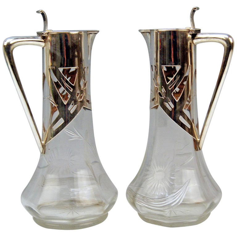Silver 800 Art Nouveau Pair of Glass Decanters Deyhle Brothers, Germany, 1900 For Sale