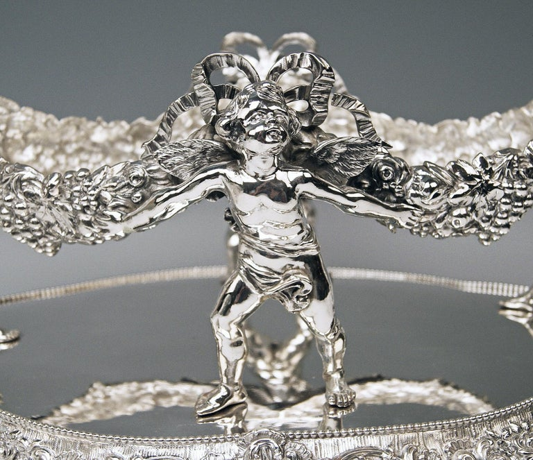 Baroque Revival Silver 800 German Centrepiece Glass Schleissner, Hanau ca 1890 width 18.3 inches For Sale