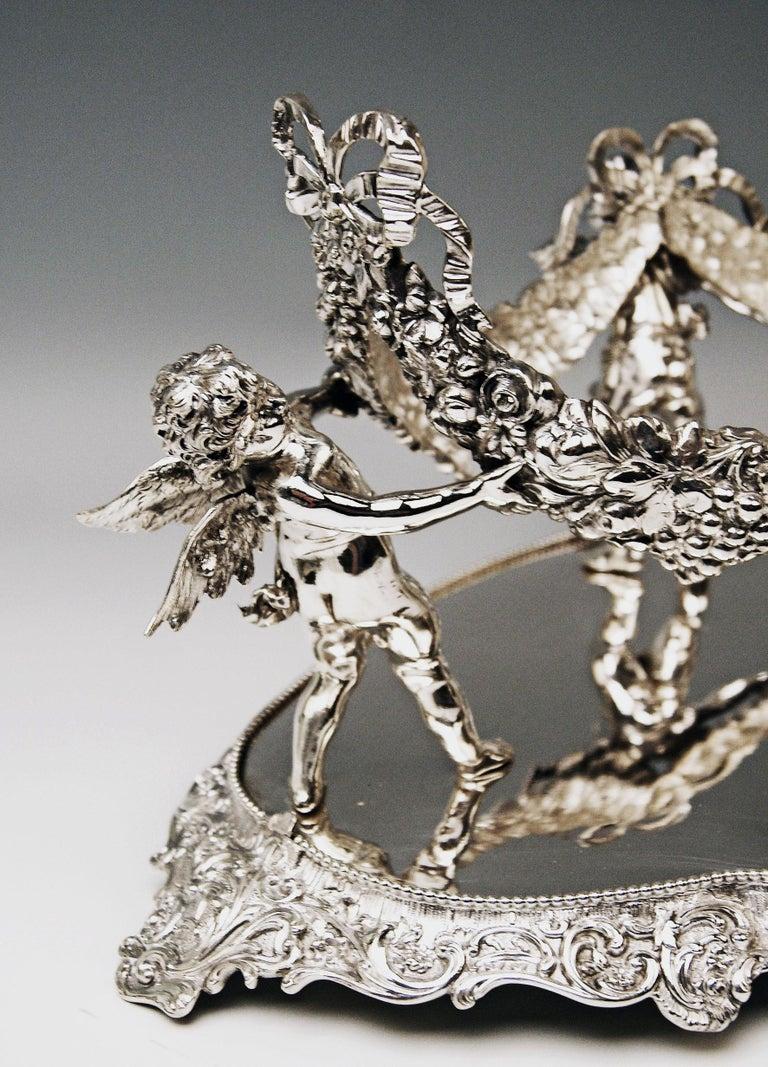 Cast Silver 800 German Centrepiece Glass Schleissner, Hanau ca 1890 width 18.3 inches For Sale