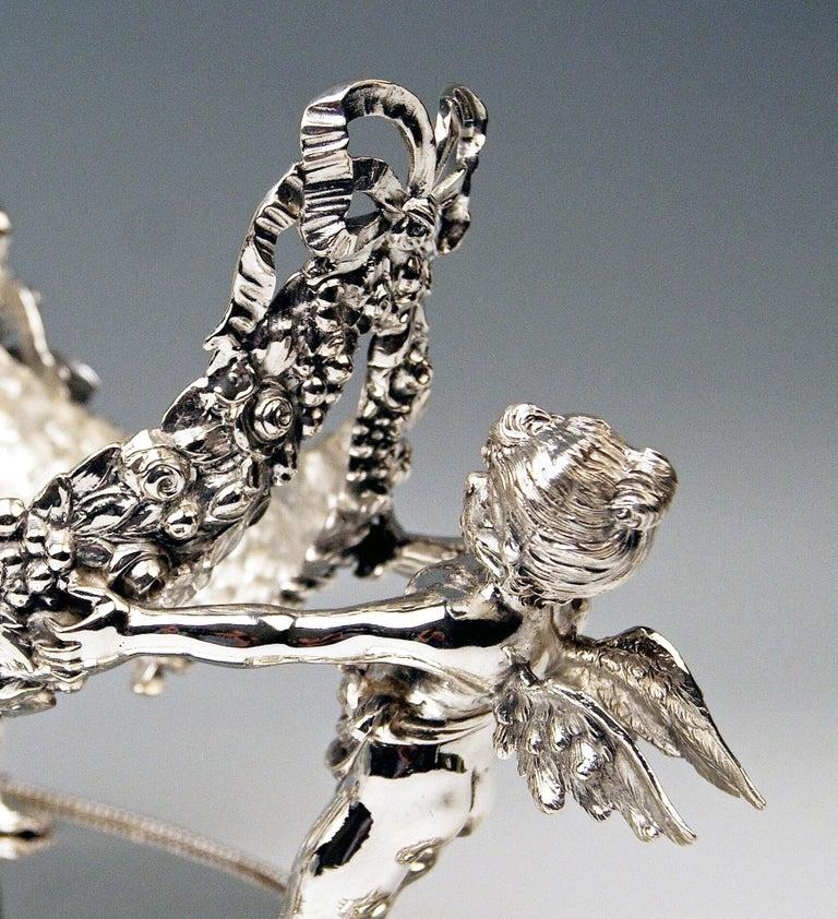 19th Century Silver 800 German Centrepiece Glass Schleissner, Hanau ca 1890 width 18.3 inches For Sale