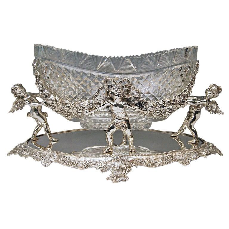 Silver 800 German Centrepiece Glass Schleissner, Hanau ca 1890 width 18.3 inches For Sale