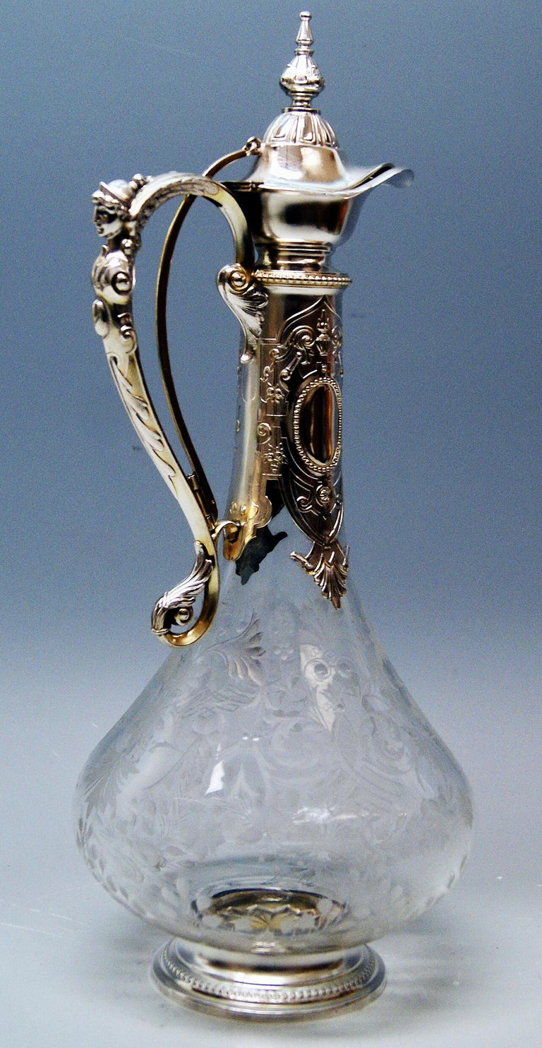 High Victorian Silver 800 Historicism Glass Decanter Wine Carafe, Austria Made circa 1880-1890 For Sale