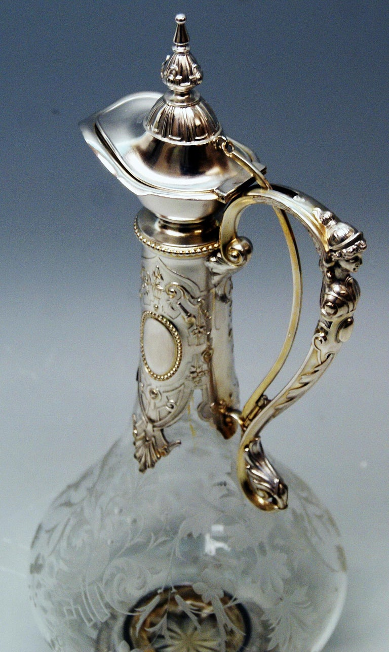 Etched Silver 800 Historicism Glass Decanter Wine Carafe, Austria Made circa 1880-1890 For Sale