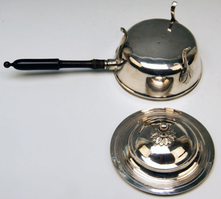 Silver 812.5 Biedermeier Lidded Casserole Wooden Stick Radelpunze Vienna 1827 For Sale 1