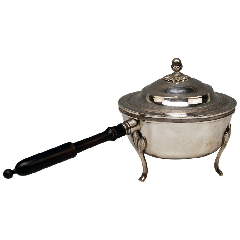 Silver 812.5 Biedermeier Lidded Casserole Wooden Stick Radelpunze Vienna 1827 For Sale