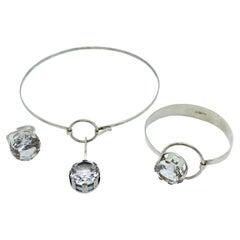 Silver 830 Set Necklace, Ring and Bracelet Finland Rock Crystal