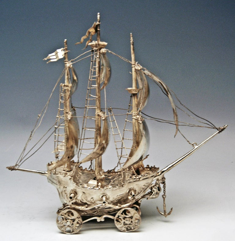 Spanish Silver 915 Sailing Ship Spain Probably Madrid, circa 1934-1935 For Sale
