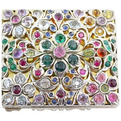 Silver 925 18 Karat Yellow Gold Plate Gem Encrusted Box, 19th Century