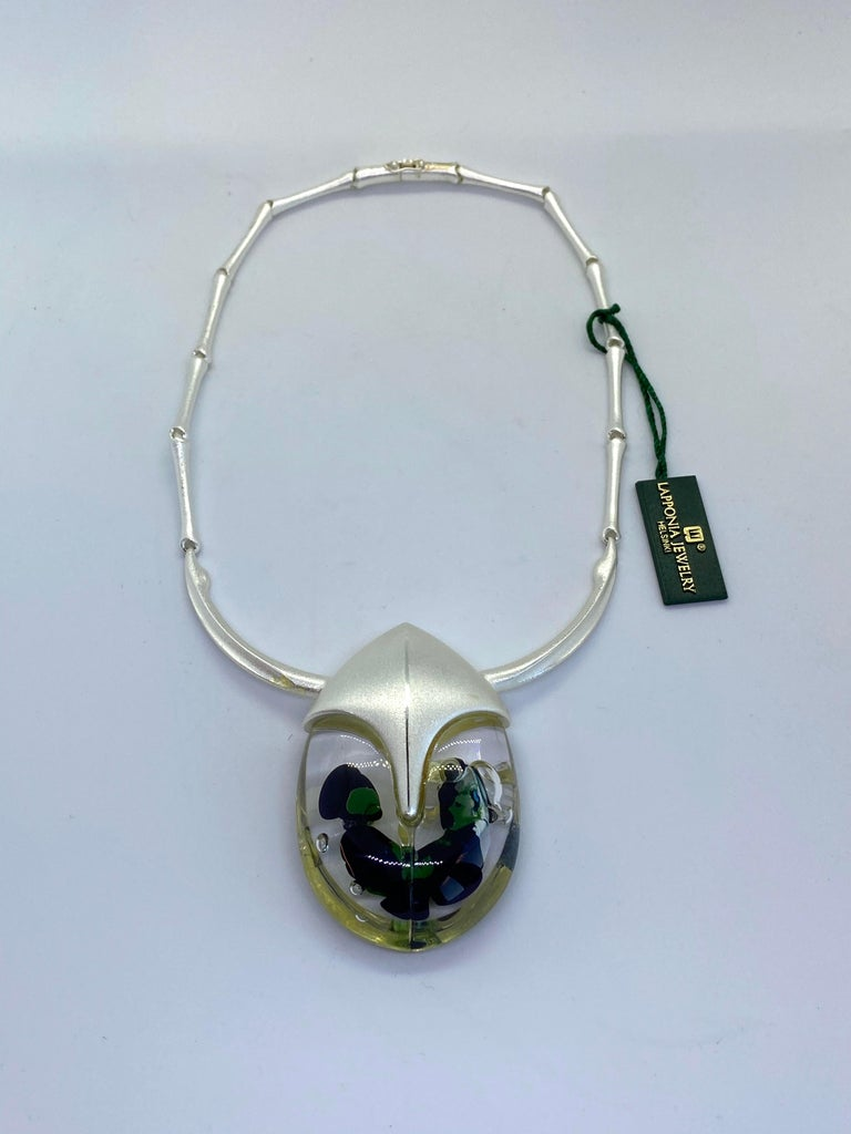 Silver Finland Björn Weckström Lapponia Scarabeo Necklace Helsinki Finland 2001 Unused, old stock In original bag  The most distinct period of material bound design in Bjorn Weckstrom's production,are the series of 25 sculptures in acrylic resin,
