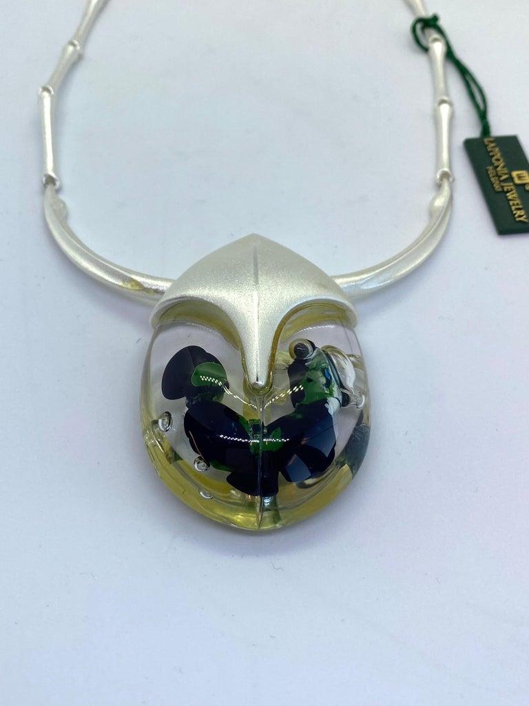 Silver Acrylic Finland 2001 Björn Weckström Lapponia Scarabeo Necklace In Good Condition For Sale In Orimattila, FI
