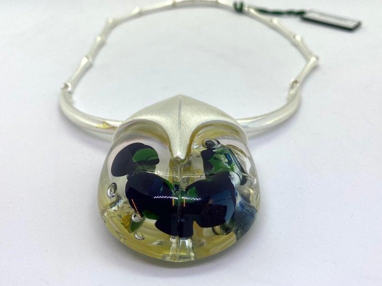 Women's or Men's Silver Acrylic Finland 2001 Björn Weckström Lapponia Scarabeo Necklace For Sale
