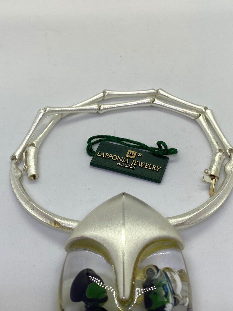 Silver Acrylic Finland 2001 Björn Weckström Lapponia Scarabeo Necklace For Sale 3