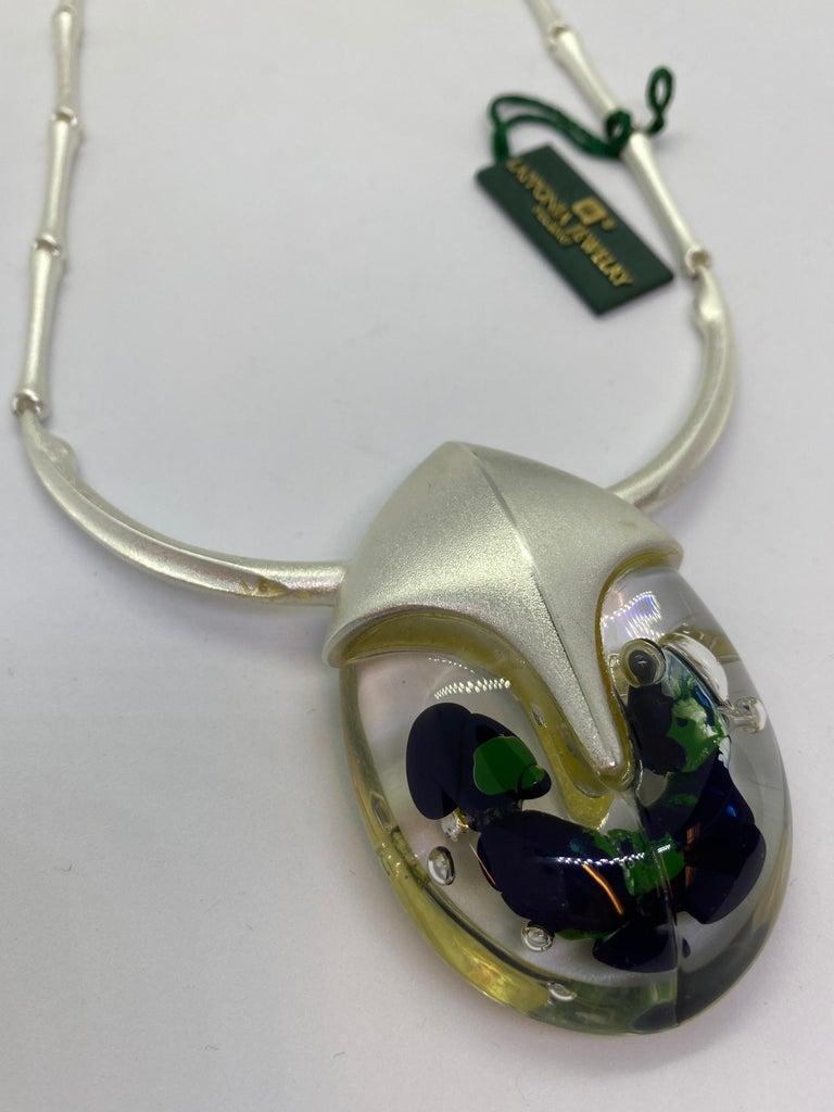 Silver Acrylic Finland 2001 Björn Weckström Lapponia Scarabeo Necklace For Sale 4