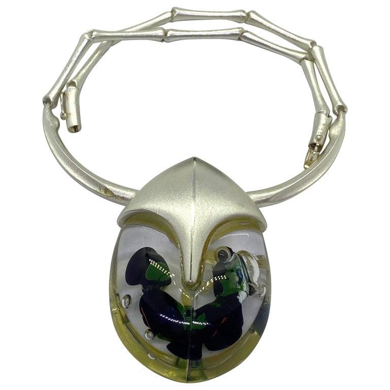 Silver Acrylic Finland 2001 Björn Weckström Lapponia Scarabeo Necklace For Sale