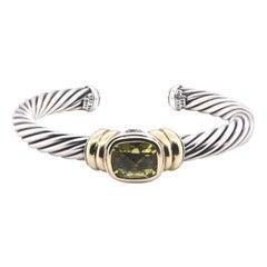 Silver and 14 Karat Yellow Gold David Yurman Peridot Cable Cuff