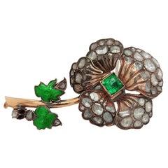 Silver and 14 Kt Flower Brooch, 6 Ct Rose Cut Diamonds, Colombia Emerald, Enamel