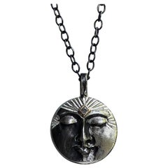 Silver and 14k Gold Diamond Moon Face Necklace by Franny E