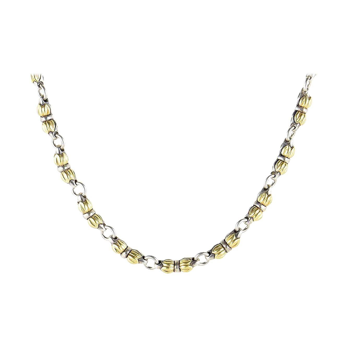 Silver and 18 Karat Yellow Gold Necklace