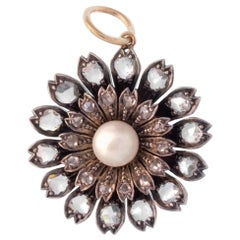 Silver and 18 Karat Yellow Gold Rose Cut Diamond and Pearl Flower Charm Pendant