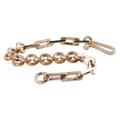Silver and 22 Karat Gold Multi Shape Link Bracelet