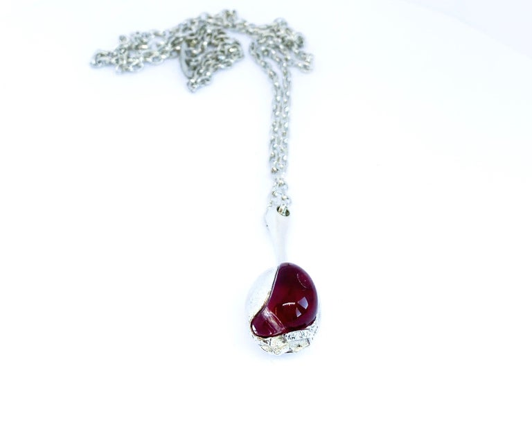 Modernist Silver and Acrylic Björn Weckström Lapponia 1973 Finland Nectaris Necklace For Sale