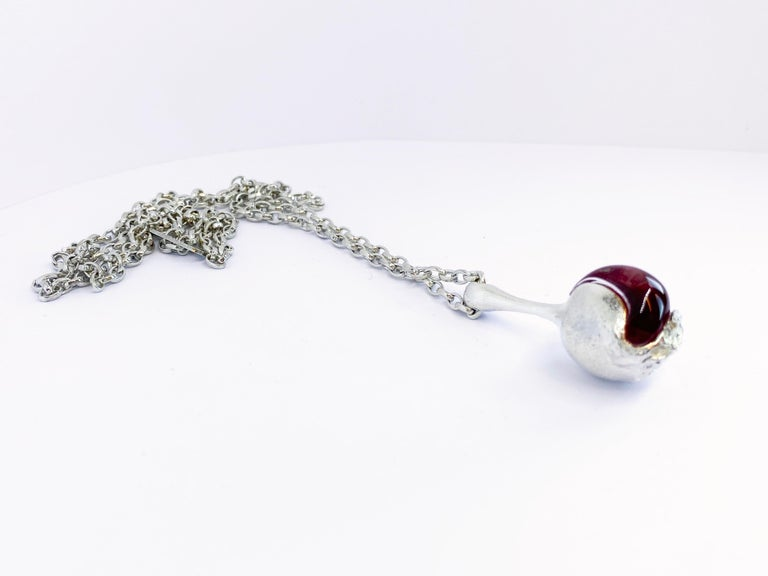 Women's or Men's Silver and Acrylic Björn Weckström Lapponia 1973 Finland Nectaris Necklace For Sale