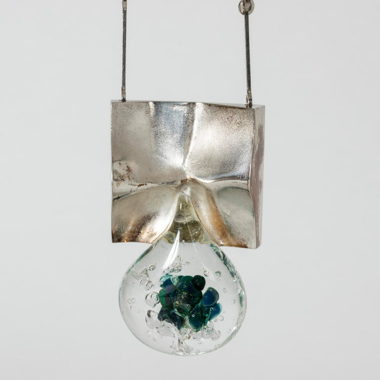 """Silver and Acrylic """"Drop"""" necklace by Björn Weckström for Lapponia, Finland In Good Condition For Sale In Stockholm, SE"""