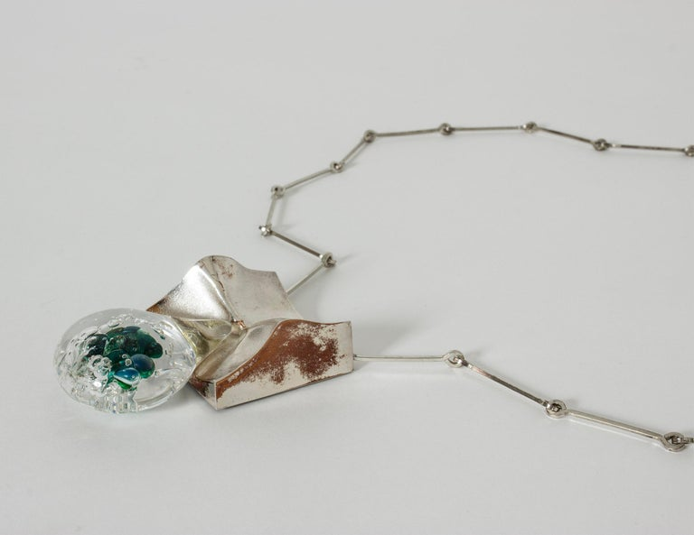"""Silver and Acrylic """"Drop"""" necklace by Björn Weckström for Lapponia, Finland For Sale 1"""