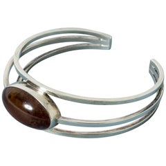Silver and Amber Bracelet from Niels Erik From, Denmark, 1960s