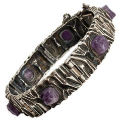 Silver and Amethyst Bracelet by Pentti Sarpaneva for Turun Hopea, Finland, 1973