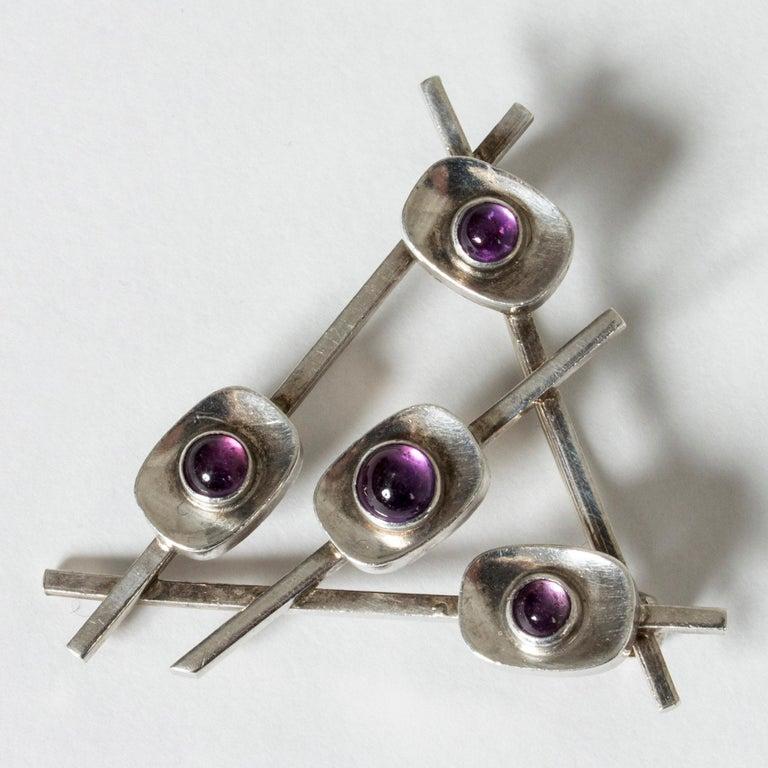 Modernist Silver and Amethyst Brooch by Arvo Saarela, Sweden, 1963