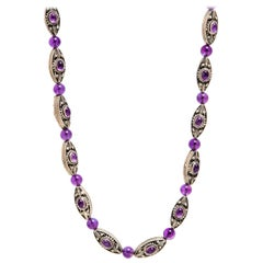 Silver and Amethyst Oval Cabochon and Beads Necklace