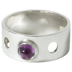 Silver and Amethyst Ring by Elis Kauppi for Kupittaan Kulta, Finland, 1962