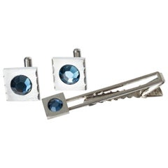 Silver and Aquamarine Blue Crystal Machine Age Tie Bar and Cuff Link Set, 1950s