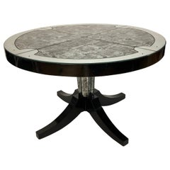 Silver and Black Eglomise Top Table by Maison Janson