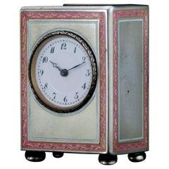Silver and Blue Guilloche Enamel Sub Miniature Carriage Clock, 1900