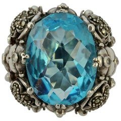 Silver and Blue Oval Glass Marcasite Ladybird Flower Statement Ring circa 1970s