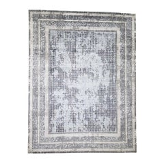 Silver and Blue Silken Roman Mosaic Design Hand Knotted Oriental Rug